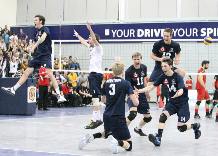 The Trinity Western Spartans celebrate winning the CIS national men's volleyball championship back in March. The Spartans, the two-time defending champs, will represent Canada in September at the U23 Pan American Cup, which will be held at the Langley Events Centre.