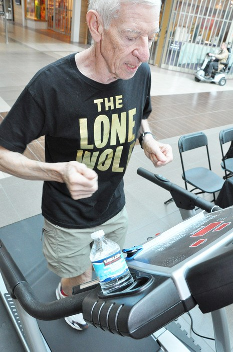 At age 75, Michael Breeze (better known as the Lone Wolf), was the oldest participant at the Easter Seals 12 hour relay fundraiser at Willowbrook Mall and the annual Easter Seals 24 Hour Relay, held last weekend in Vancouver.