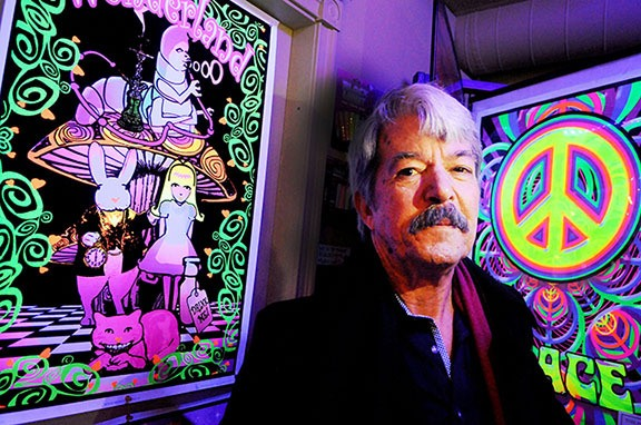 Randy Caine stood near some inspired artwork at his HEMPYZ store in downtown Langley. Caine, 62, is a longtime advocate of decriminalizing marijuana.
