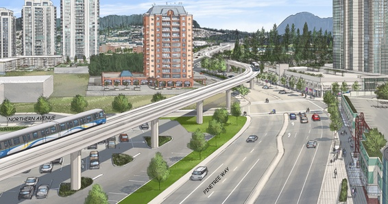 Artist rendering of section of planned Evergreen Line in Coquitlam.