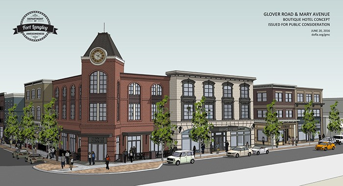 An artist rendering depicts a new three-storey complex, featuring a boutique hotel and courtyard plaza, proposed by builder Eric Woodward for the corner of Glover Road and Mary Avenue in Fort Langley.