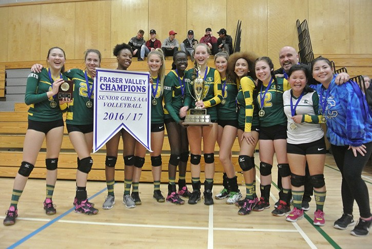 The Langley Saints senior girls volleyball rallied for victory in capturing the Fraser Valley 3A title on Wednesday night.
