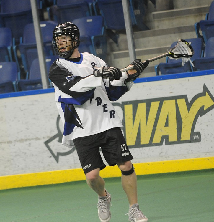 Langley Thunder's Alex Turner had four goals and six points against the Burnaby Lakers on June 5, but that was not enough as the Thunder fell short, 9-8.