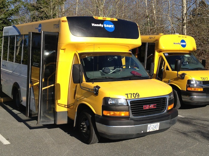 HandyDart mini-buses still provide more than 95 per cent of custom transit trips with the remainder now handled by taxis.