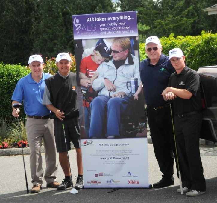 Troy Peverley (left to right), Mike Café, Lance Connell and Jason Thompson are the Belmont Golf Course team members for the PGA of B.C. Golfathon for ALS. The foursome will golf all day on Monday to raise money to help those with ALS.