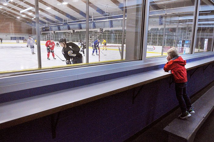 Max Choquette, four, watches intently as the Langley Rivermen junior A hockey team practises at the George Preston Recreation Centre. The Rivermen's next home game is this Saturday at 6 p.m., when they take on the Nanaimo Clippers.
