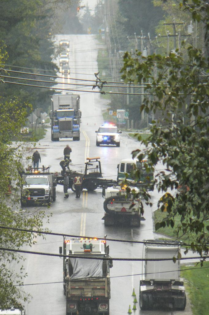 Crews work to clear the site of an accident in South Surrey Wednesday morning on 16 Avenue, east of 192 Street.