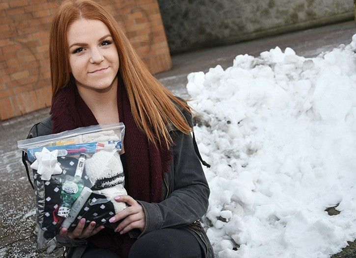 Cierra Foster, 18, is expanding her Reason for the Season: Give to the Homeless event from Vancouver to Langley this year. She will be handing out care packages, such as the one pictured, to homeless people in Langley on Dec. 31.