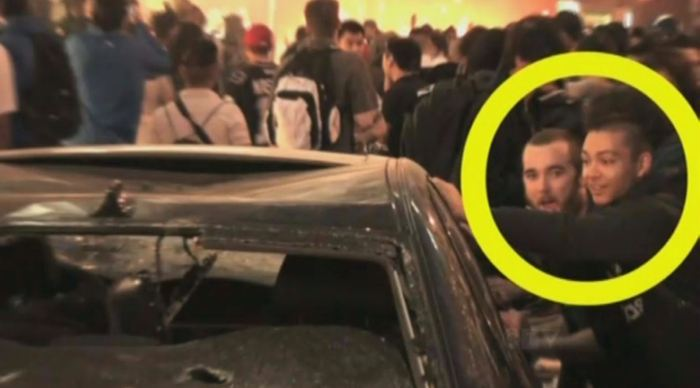 Surrey resident Emmanuel Alviar captured on video pushing against a car on the night of the June 15, 2011 Stanley Cup riot.