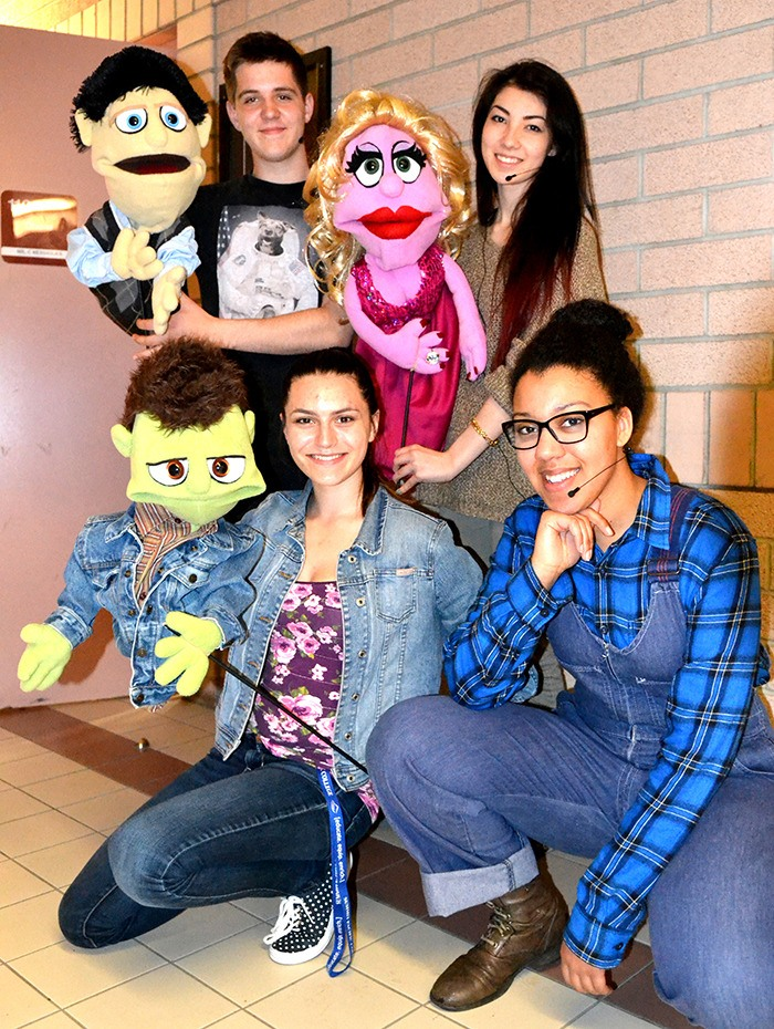 Clockwise from top left: James Aalhus with Princeton; Aisley Komatsu-Trehearne with Lucy; Abby Wiens as Gary Coleman and Elsa Fawkes with Ricky. The WGSS musical theatre department presents Avenue Q School Edition, April 24 to May 3 at the high school on Walnut Grove Drive.
