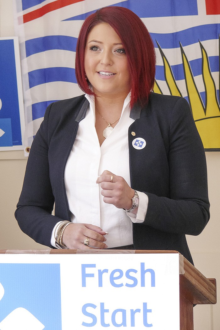 Chloe Ellis, shown here announcing her candidacy for leader of the BC Conservative Party in Fort Langley last July, has announced she is stepping down from the race. The 25-year-old is stepping away from politics following a family member's diagnosis of terminal cancer.