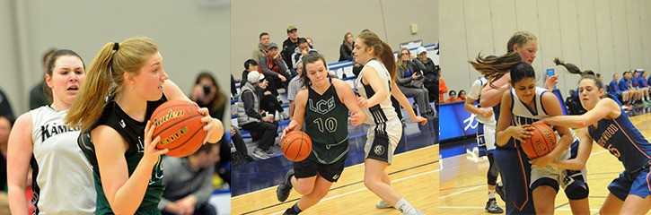 Langley Christian's Katelyn Mallette (left to right) and Hannah Krepp, and Brookswood;s Louise Forsyth (#5) are set to suit up in a B.C. senior girls high school basketball all-star game.