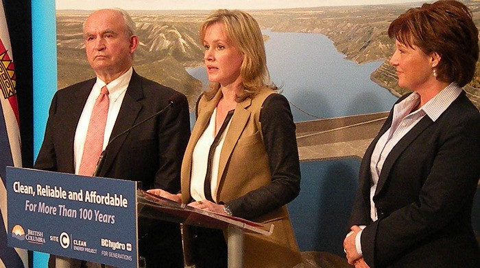 Energy Minister Bill Bennett, BC Hydro CEO Jessica McDonald and Premier Christy Clark announce decision to proceed with the Site C dam on the Peace River Tuesday at the B.C. legislature.