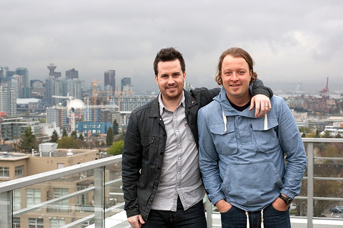 High school bandmates Jeremy Allingham, left, and Daniel Wesley, right, are returning to Brookswood Secondary this weekend as the school celebrates its 40th anniversary. Beginning at 3 p.m. the two men will perform songs from their days in the band General Mayhem, as well as a few selections from their respective music careers.