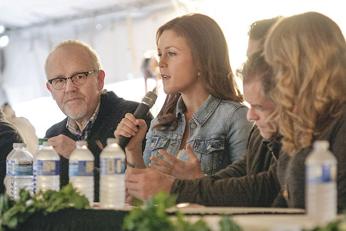 Star Erin Krakow takes questions from about 200  fans at a 'Hearties Family Reunion' Krakow plays Elizabeth Thatcher in the Hallmark series 'When Calls the Heart' which is shot in Langley Township. Executive producer Brian Bird is to the left of Krakow. The Times story about the meet and greet with fans of the show was the most read online entertainment story of 2016.