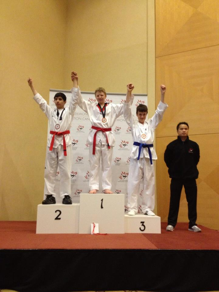 Woo Kim Tae Kwon Do's Reynard Lombard won gold in his division at the Canadian national taekwondo championships in Vancouver.