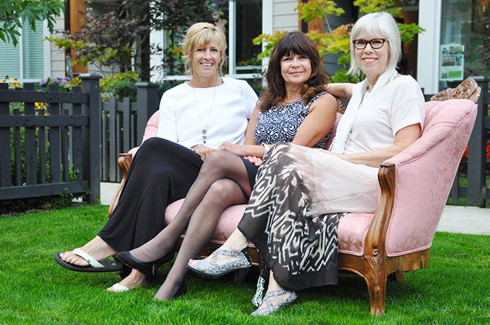 Fort Langley artists Pat Barker (left), Susan Galick and Judy Nygren are hosting their first collaborative art showing on Saturday, Sept. 19 outside their neighbouring studios in the Flatiron Building.