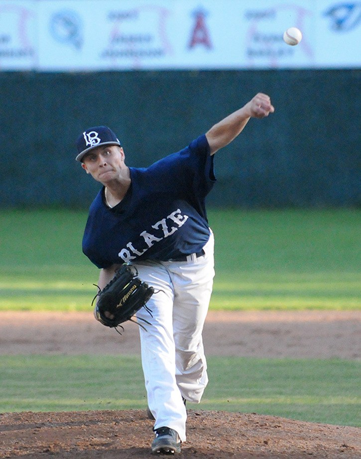 Kyle Prather pitched a three-hit shutout on Sunday, helping the Langley Blaze split a doubleheader with the Parksville Royals