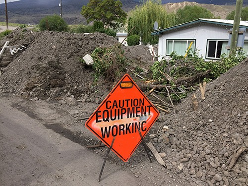 A neighbourhood in Cache Creek is shown on Monday following the flash flood that took place on Saturday.