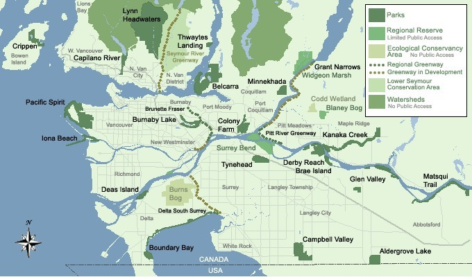 Map showing Metro Vancouver regional parks.