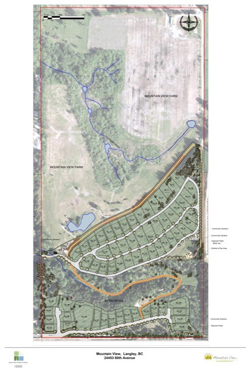 This map shows development plans for the former Tuscan Farms property.