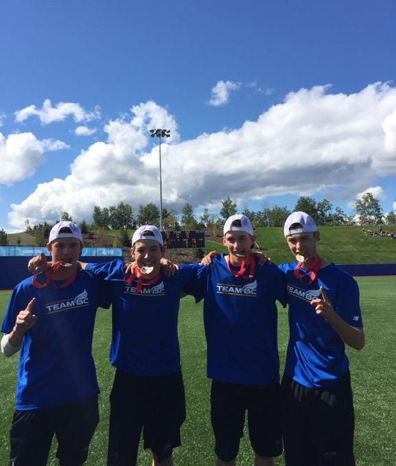 Four members of the Langley Blaze — Colby Ring, Wesley Moore, Jayden Knight and Rhys Cratty — helped B.C. win gold at the Western Canada Summer Games in Wood Buffalo, Alta.