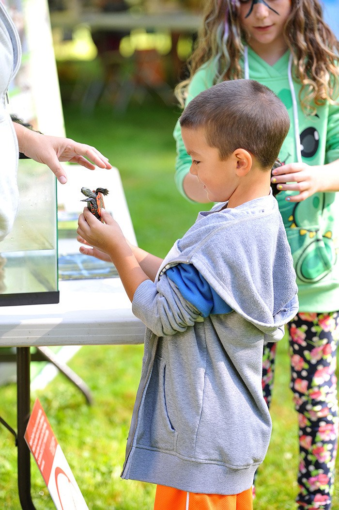 A young visitor checks out a Western painted turtle during a past Rivers Day Festival. The Derek Doubleday Arboretum will provide the setting for this year's celebration, a free event where visitors can learn about the environment through a variety of activities, enjoy a barbecue lunch, and kids can make boats out of recyclable materials.