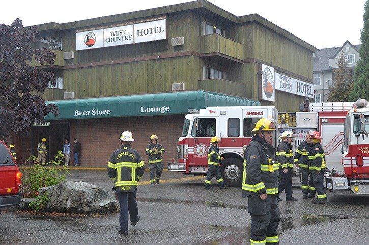 A dryer fire forced the temporary evacuation of residents at the West Country Hotel in Langley City. Nobody was injured.