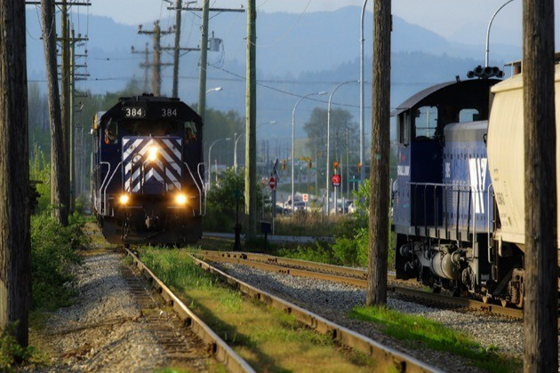Southern Railway of B.C. trains are continuing to run with managers operating them after a lockout of unionized workers began Monday.