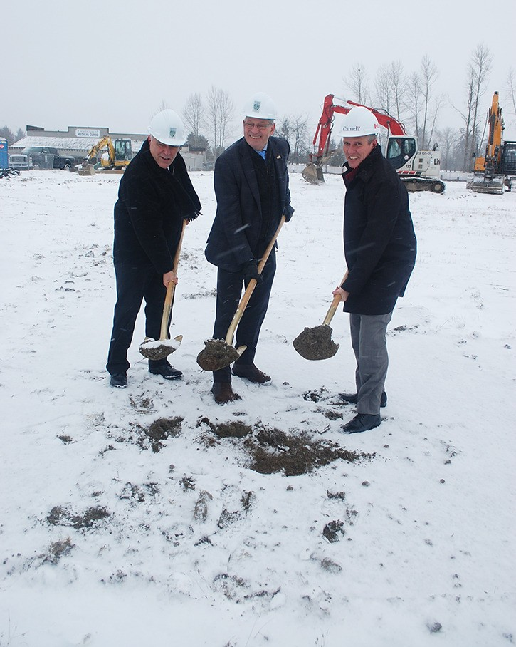 MP John Aldag and MLA Darryl Plecas joined Langley Township Mayor Jack Froese in groundbreaking ceremonies for the Aldergrove Credit Union Community Centre on Friday afternoon.
