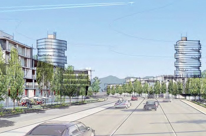 A concept sketch shows a potential view of Carvolth Gateway Corridor along 200 Street.