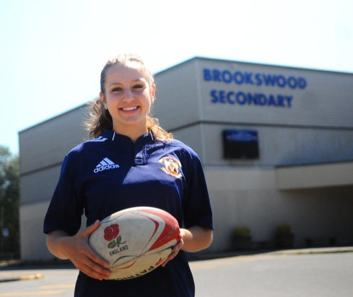 Brookswood's Brianne Kucey was named the winner of the Bill Turpin Award, which recognizes the top senior rugby player in the district who best exemplifies the qualities of sportsmanship and dedication to the game. Kucey played this past season for D.W. Poppy (below) after Brookswood did not have enough players to field a team.