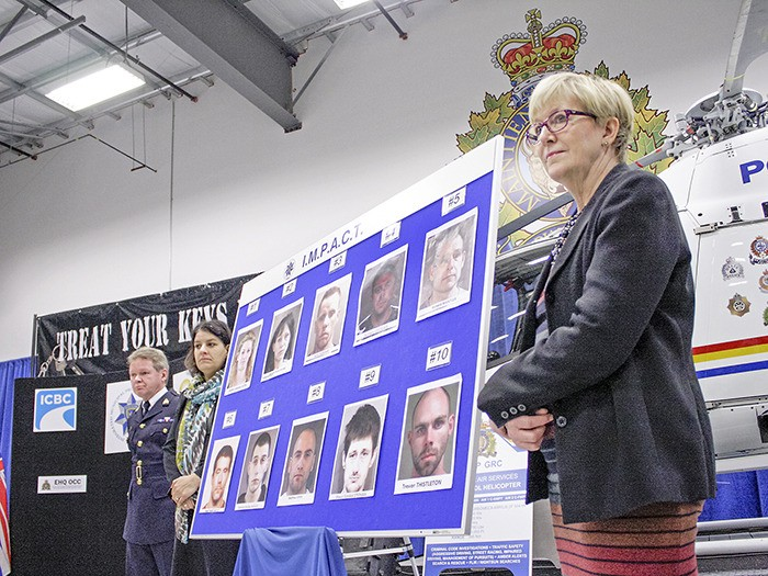 Attorney General and Justice Minister Suzanne Anton kicked off Auto Crime Enforcement Month in Langley by unveiling a list of the top 10 most-wanted vehicle thieves earlier in April.