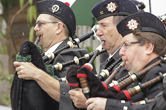 Pipers led off the annual May Day parade in Fort Langley on Monday.