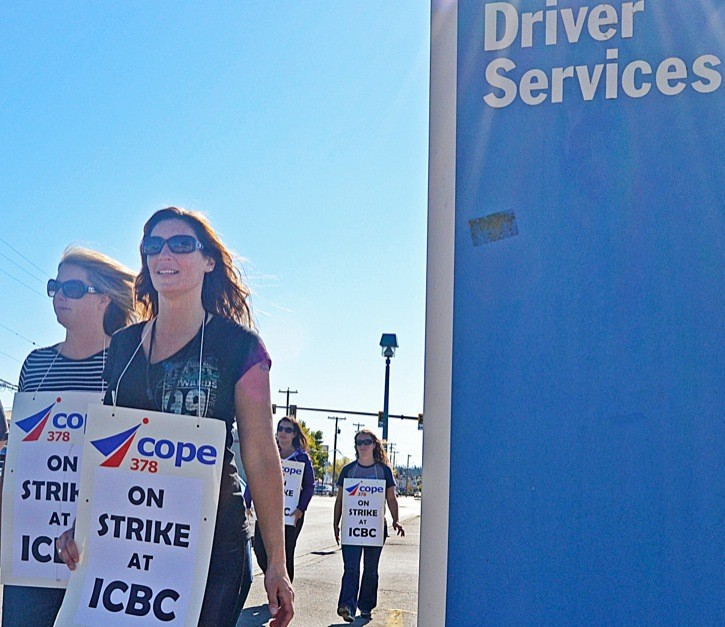 Langley Driver Services Centre on Logan Avenue was closed as the result of a one-day strike Wednesday, and remained closed Thursday and Friday because of a water leak.