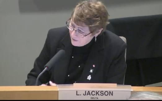 Delta Mayor Lois Jackson at a Metro Vancouver board meeting.