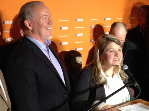 NDP leader John Horgan celebrates the win in Coquitlam-Burke Mountain with new MLA Jodie Wickens.
