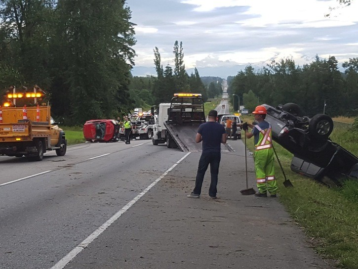 Only minor injuries in this crash eastbound on Highway One, just past 208 St. on Saturday evening.