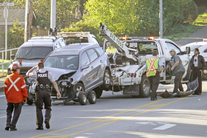One person was taken to hospital after a two-vehicle collision on 208 Street near 47 Avenue Wednesday morning.