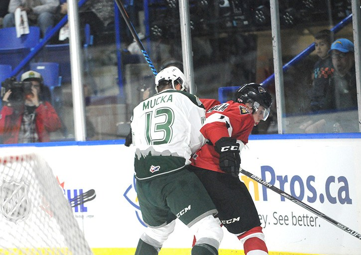 Vancouver Giants forward James Malm (right) shields the puck from Everett Silvertips' Mario Mucka during Western Hockey League play at the Langley Events Centre earlier this season. Malm is one of the Giants' leading young players.