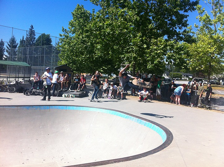 A competitor does a 360 indy grab at the Thomas Haney Plaza in Maple Ridge last month. It was the first of a series of three competitions as part of the Fraser Valley Blitz. The second happens on Aug. 10 in Langley.