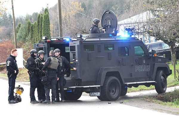 Members of the Abbotsford Police emergency response team were among those on the scene of a standoff Wednesday morning on Riverside Road, just south of King Road.