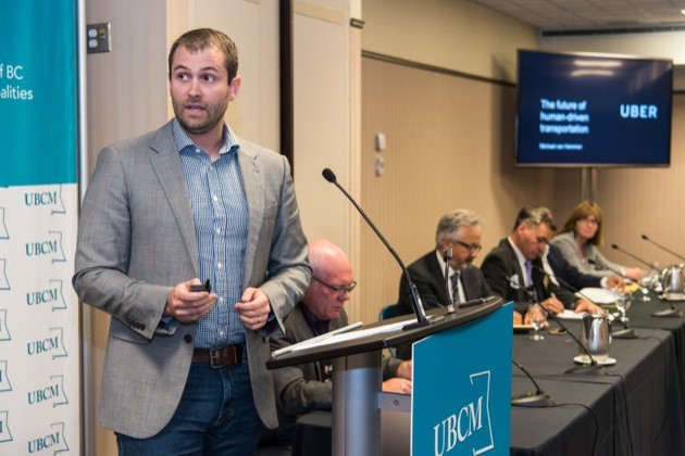 Uber Canada public policy manager Michael van Hemmen, speaking at a forum on ride-sharing at the Union of B.C. Municipalities convention in Victoria Tuesday.