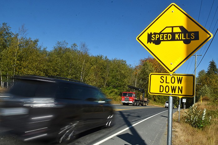 """The Township of Langley installed nine """"Speed Kills"""" signs along 16 Avenue this past summer to remind drivers to slow down."""