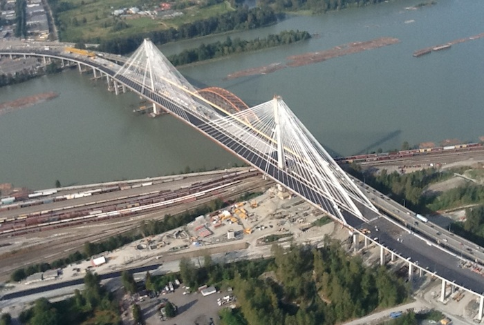 View of the new 10-lane Port Mann Bridge from the air.