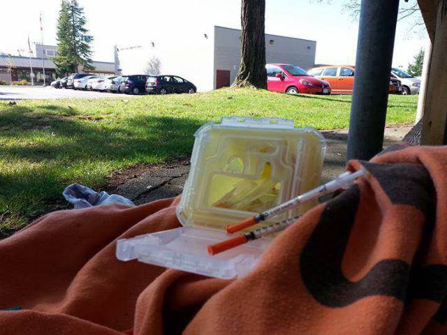 The second of two needle depository box resident John Woodford found near Douglas Park Elementary School last month.