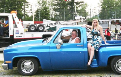 Harold Hamon showed off his customized 1980 blue Chevy pickup with a photographer's model. The well-known tow truck operator, who died in hospital after a traffic crash on March 11, will be remembered by friends and family on Sunday.