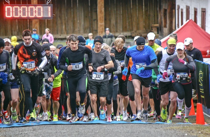 Just under 700 runners took part in the annual Trinity Western University Fort Langley Historic Half Marathon on Sunday morning. Duane Foley (#102) finished second overall with a time of 1:30.34.7, just a few seconds behind Lawerce Brown's 1:26.55.0. Three hundred and 70 runners participated in the half marathon, with another 187 in the 10km and 100 in the 5 km. Kevin Heinze won the 10km event in 40:27.8 while Olivia Willett was tops in the 5km with a time of 19:35.6.