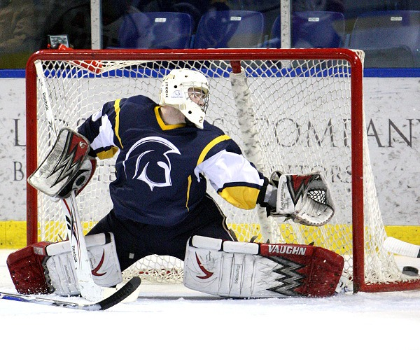 Trinity Western Spartans goalie Tim Zwiers made 39 saves in a 3-3 tie against the SFU Clan at the Langley Events Centre on Feb. 10.