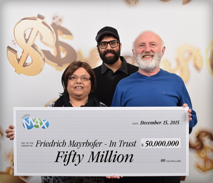 Friedrich and Annand Mayrhofer and their son Eric Mayrhofer are the winners of a $50 million winning lottery ticket purchased in Langley in March, 2014.